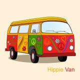 Винтажный фургон hippie иллюстрация вектора