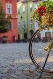 Винтажный цветочный горшок и велосипед Стоковые Изображения RF