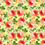 Винтажный цветочный узор с красными розами Стоковые Изображения RF