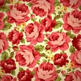 Винтажный цветочный узор с красными розами Стоковое Изображение RF