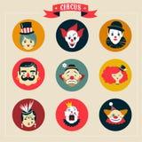Винтажный цирк, странные значки выставки и битник иллюстрация вектора