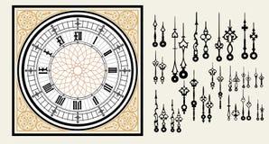 Винтажный часовой циферблат с руками комплекта в викторианском стиле Шаблон вектора editable Стоковые Изображения