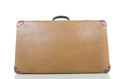 Винтажный чемодан изолированный на белизне Стоковые Изображения