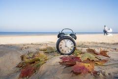 Винтажный черный будильник на листьях осени Фото конспекта изменения времени стоковая фотография rf
