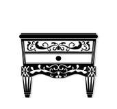 Винтажный черный вектор мебели Высекаенное богачами собрание мебели орнаментов Стиль вектора викторианский Стоковое Изображение