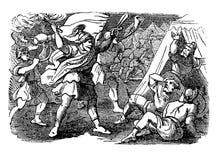 Винтажный чертеж библейского рассказа израильтян под руководством Gideon атакует лагерь Midianites иллюстрация штока