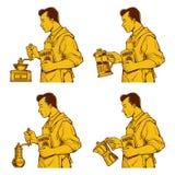 Винтажный чертеж чернил кофе Стоковая Фотография RF