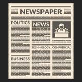 Винтажный шаблон газеты вектор Стоковое Изображение RF