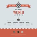 Винтажный шаблон дизайна вебсайта. Тема кофе. HTM Стоковая Фотография RF