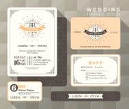 Винтажный шаблон установленного дизайна приглашения свадьбы Стоковые Фотографии RF