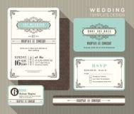 Винтажный шаблон установленного дизайна приглашения свадьбы Стоковая Фотография RF