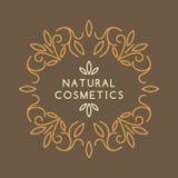 Винтажный шаблон для естественных косметик Стоковые Изображения