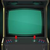 Винтажный шкаф машины видеоигры при изолированные регуляторы и экран значка сердца пиксела красочные Стоковая Фотография