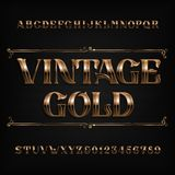 Винтажный шрифт алфавита золота Богато украшенные письма и номера влияния металла Стоковая Фотография RF