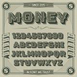 Винтажный шрифт денег с тенью Стоковые Фотографии RF