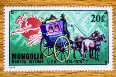 Винтажный штемпель почтового сбора Монголии Стоковое фото RF