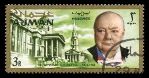 Винтажный штемпель почтового сбора Уинстона Черчилля от Ajman Стоковые Фото