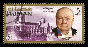 Винтажный штемпель почтового сбора Уинстона Черчилля от Ajman Стоковое Изображение RF