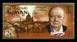 Винтажный штемпель почтового сбора Уинстона Черчилля от Ajman Стоковое Изображение