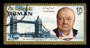 Винтажный штемпель почтового сбора Уинстона Черчилля от Ajman Стоковые Изображения RF