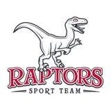 Винтажный юрский логотип хищника Дизайн значка insignia талисмана спорта Dino Концепция иллюстрации футболки команды коллежа Стоковые Изображения RF