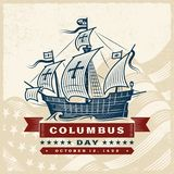 Винтажный ярлык дня Колумбуса иллюстрация штока