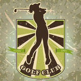 Винтажный ярлык при женщина играя гольф Ретро нарисованный рукой гольф-клуб плаката иллюстрации вектора Стоковые Фото