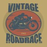 Винтажный ярлык спорта мотоцикла Стоковые Фотографии RF