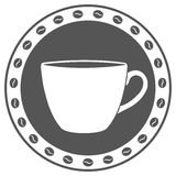 Винтажный ярлык чашки кофе Стоковое Изображение RF