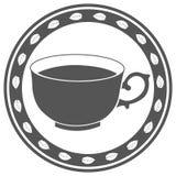 Винтажный ярлык чашки чаю Стоковое Фото