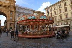 Винтажный carousel в Флоренсе, Италии Стоковое Фото