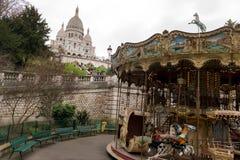 Винтажный carousel на Montmartre, Париже Стоковое Изображение