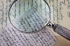 Винтажный Loupe и письма Стоковое фото RF