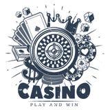 Винтажный Monochrome шаблон логотипа казино иллюстрация штока