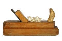 Винтажный planer с shavings Белая предпосылка для деревянного processi Стоковая Фотография