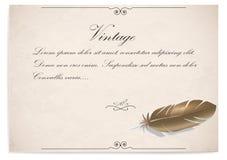 Винтажный quill на старой бумаге также вектор иллюстрации притяжки corel иллюстрация штока