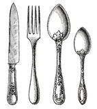 Винтажный silverware. Нож, вилка и ложка Стоковые Фото