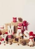 Винтажный stile небо klaus santa заморозка рождества карточки мешка деревянное украшений рождества экологическое Стоковые Изображения