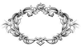 Винтажным барочным викторианским татуировка картины флористического орнамента вензеля границы рамки выгравированная переченем рет Стоковая Фотография RF