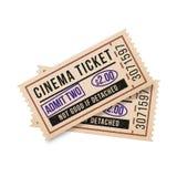 2 винтажных билета к кино на белой предпосылке также вектор иллюстрации притяжки corel Стоковые Фотографии RF