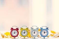 4 винтажных будильника Стоковые Изображения RF