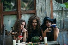 3 винтажных ведьмы выполняют волшебный ритуал Стоковая Фотография