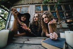 3 винтажных ведьмы выполняют волшебный ритуал Стоковая Фотография RF