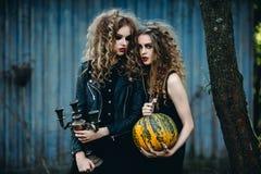 2 винтажных женщины как ведьмы Стоковые Фото