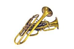 2 винтажных изолированного музыкального инструмента латунных ветра Стоковое фото RF