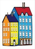 2 винтажных дома изолированного на белизне Стоковое Изображение RF