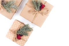 3 винтажных подарочной коробки рождества Стоковые Изображения