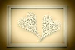 2 винтажных сердца в рамке Стоковая Фотография
