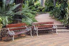 2 винтажных скамейки в парке на вымощенной дорожке кирпича Стоковое Изображение RF