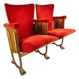 2 винтажных стуль кинотеатра изолированного на белизне Стоковые Фото